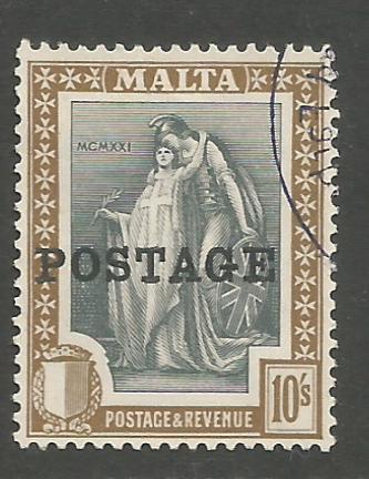 Malta Stamps SG 0156 1926 Overprints 10 Shillings - USED (h939)