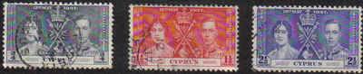 Cyprus Stamps SG 148-50 1937 Coronation - USED (a850)