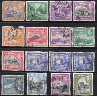 Cyprus Stamps SG 151-60 1938 KG VI Part set - USED (c220)