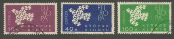 Cyprus Stamps SG 206-08 1962 Europa Doves - USED (h953)