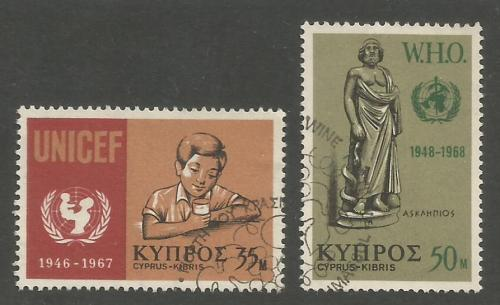 Cyprus Stamps SG 322-23 1968 UNICEF WHO - USED (h956)