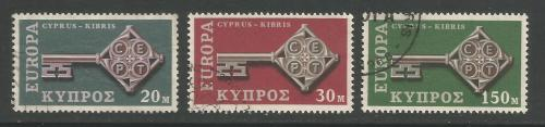 Cyprus Stamps SG 319-21 1968 Europa key - USED (h959)