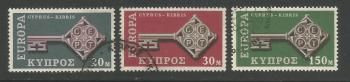 Cyprus Stamps SG 319-21 1968 Europa key - USED (h960)