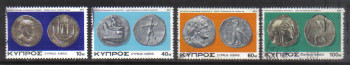 Cyprus Stamps SG 486-89 1977 Ancient Coins - USED (g786)