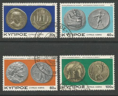 Cyprus Stamps SG 486-89 1977 Ancient Coins - USED (h962)