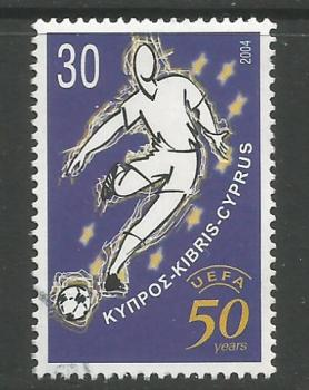 Cyprus Stamps SG 1070 2004 50th Anniversary of UEFA football - USED (h972)