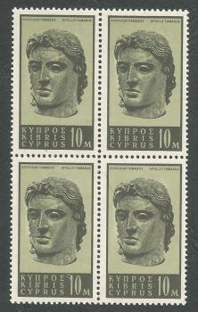 Cyprus Stamps SG 213 1962 10 Mils - Block of 4 MINT