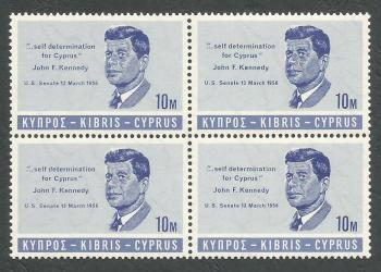 Cyprus Stamps SG 256 1965 10 Mils John F Kennedy - Block of 4 MINT