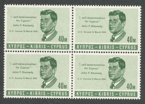 Cyprus Stamps SG 257 1965 40 Mils John F Kennedy - Block of 4 MINT