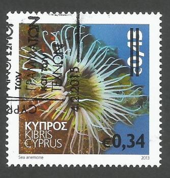 Cyprus Stamps SG 2015 (b) 34c Overprint on 43c Sea Anemone Marine Stamp - CTO USED (h987)