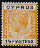 Cyprus Stamps SG 107 1924 One and 1/2 Piastre King George V - MH