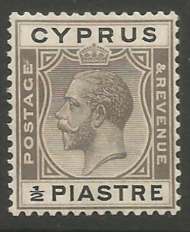 Cyprus Stamps SG 104 1924 1/2 Piastre King George V - MLH