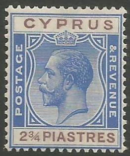 Cyprus Stamps SG 109 1924 2 3/4 Piastre King George V - MH