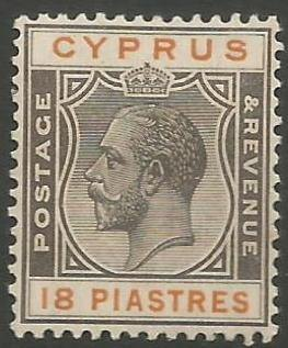 Cyprus Stamps SG 115 1924 3rd Definitives 18 Piastres - MH (k015)