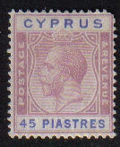 Cyprus Stamps SG 116 1924 3rd Definitives 45 Piastres - MLH (e083)