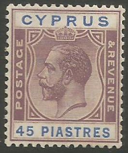 Cyprus Stamps SG 116 1924 3rd Definitives 45 Piastres - MH (k016)