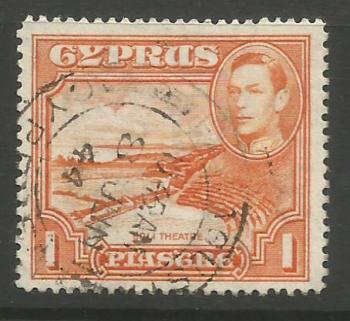 Cyprus Stamps SG 154a 1938 KGVI 1 Piastre 1944 13.5 x 12.5 Perforations  - USED (k010)