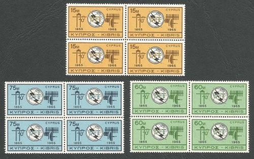 CYPRUS STAMPS SG 262-64 1965 Europa I.T.U. - Block of 4 MINT