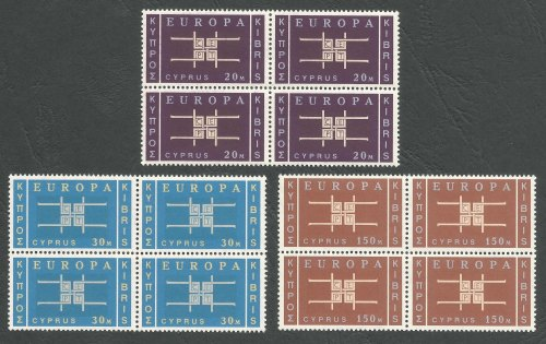 Cyprus Stamps SG 234-36 1963 Europa CEPT - Block of 4 MINT