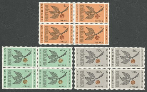 Cyprus Stamps SG 267-69 1965 Europa Sprig - Block of 4 MINT