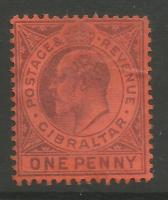 Gibraltar Stamps SG 0047 1903 One penny - MH (k026)