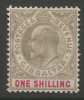 Gibraltar Stamps SG 0051 1903 One shilling - MH (k030)