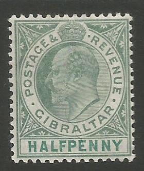 Gibraltar Stamps SG 0056 or 56a 1905 Halfpenny - MH (k031)