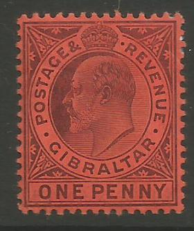Gibraltar Stamps SG 0057 or 57c 1904 One penny - MH (k032)
