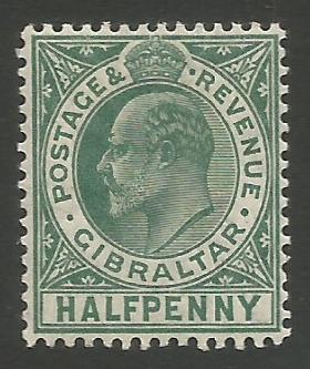 Gibraltar Stamps SG 0066 1907 Halfpenny - MH (k036)