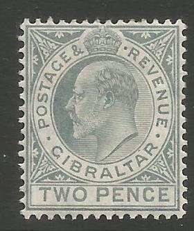 Gibraltar Stamps SG 0068 1910 Two penny - MH (k038)