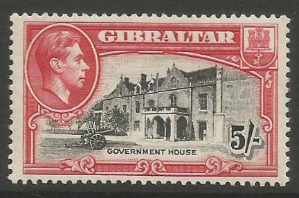Gibraltar Stamps SG 0129a 1938 Five Shilling - MLH (k058)