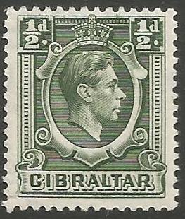Gibraltar Stamps SG 0121 1938 Halfpenny - MLH (k040)