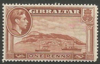 Gibraltar Stamps SG 0122 1938 One Penny - MLH (k041)