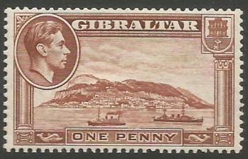 Gibraltar Stamps SG 0122ab 1940 One Penny - MLH (k042)