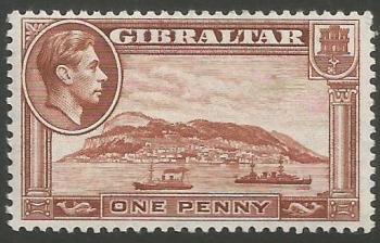 Gibraltar Stamps SG 0122b 1942 One Penny - MLH (k043)