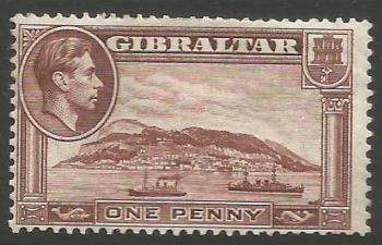 Gibraltar Stamps SG 0122c 1944 One Penny - MH (k044)