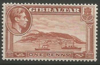 Gibraltar Stamps SG 0122d 1949 One Penny - MLH (k045)