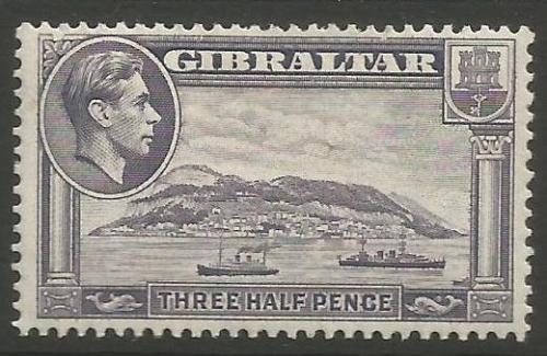 Gibraltar Stamps SG 0123b 1943 Three Halfpenny - MLH (k046)