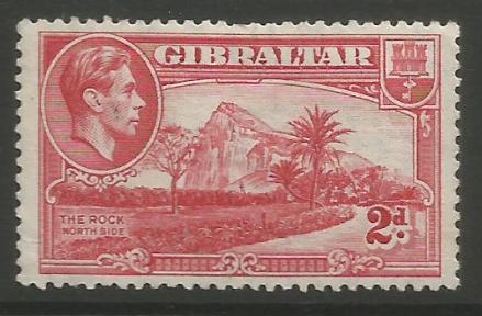 Gibraltar Stamps SG 0124c 1944 Two penny - MLH (k049)