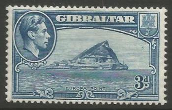 Gibraltar Stamps SG 0125b 1942 Three penny - MLH (k051)