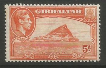 Gibraltar Stamps SG 0125c 1947 Five penny - MLH (k052)