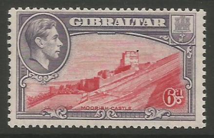 Gibraltar Stamps SG 0126b 1942 Six penny - MLH (k54)