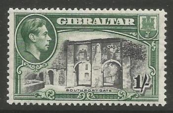 Gibraltar Stamps SG 0127b 1942 One Shilling - MLH (k056)