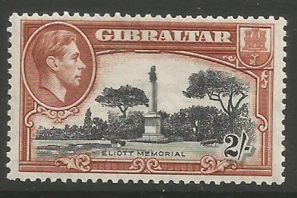 Gibraltar Stamps SG 0128b 1942 Two Shilling - MLH (k057)