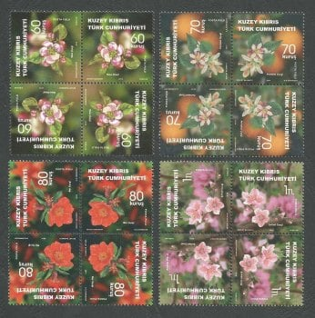 "North Cyprus Stamps SG 0786-89 2014 Fruit Tree Flowers cross tete-beche ""Kaleidoscope"" - MINT"