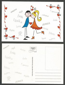 North Cyprus Stamps Postcard 2015 Saint Valentines Day - Official MINT