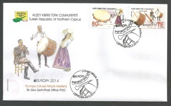 North Cyprus Stamps SG 0780-81 2014 Europa National Music Instruments - Stamps Official FDC
