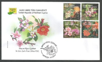 North Cyprus Stamps SG 0786-89 2014 Fruit Tree Flowers - Official FDC