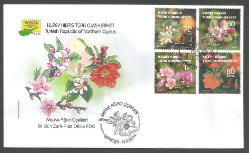 North Cyprus Stamps SG 2014 (h) Fruit Tree Flowers - Official FDC