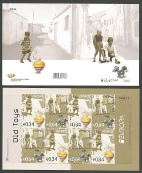 Cyprus Stamps SG 2015 (f) Europa Old Toys Spinning Top and Marbles - Booklet MINT
